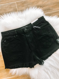 High Rise Shorts W/ Frayed Hem