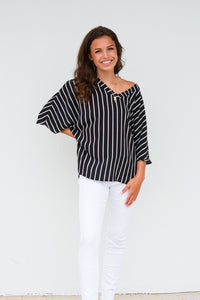 Boho Summer Striped Blouse