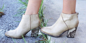 LEATHER TWO TONE SNAKE PRINT BOOTIE