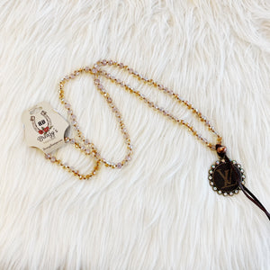 Beaded Lv Tie Necklace