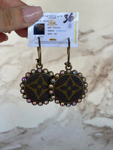 LV AB Crystal Round Earrings