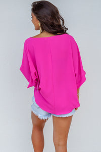 KIMONO SLEEVE WOVEN TOP WITH SIDE TIE
