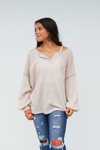 Get Up And Go Waffle Knit Top