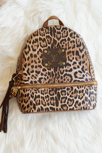 Large LV Repurposed Cheetah BookBag