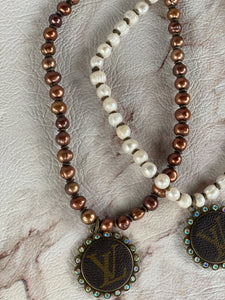 Repurposed LV Pearl or Brown Necklaces