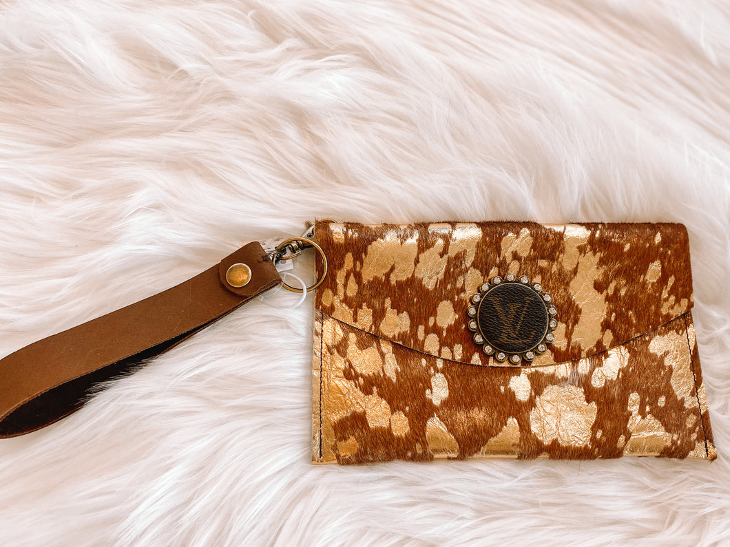 You've Been Spotted Cowhide Wristlet