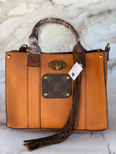 Load image into Gallery viewer, Repurposed LV Cognac Cambrie Purse