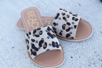 Leopard Cowhide Studded Sandals
