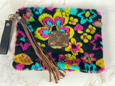 Repurposed LV Flower Power Large Wristlet