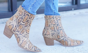 Carter Tan Snake Booties