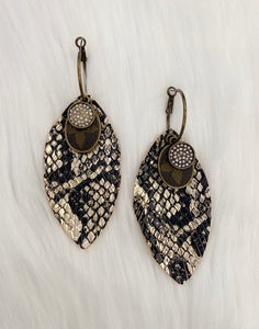 Black & Cream LV Feather Earrings