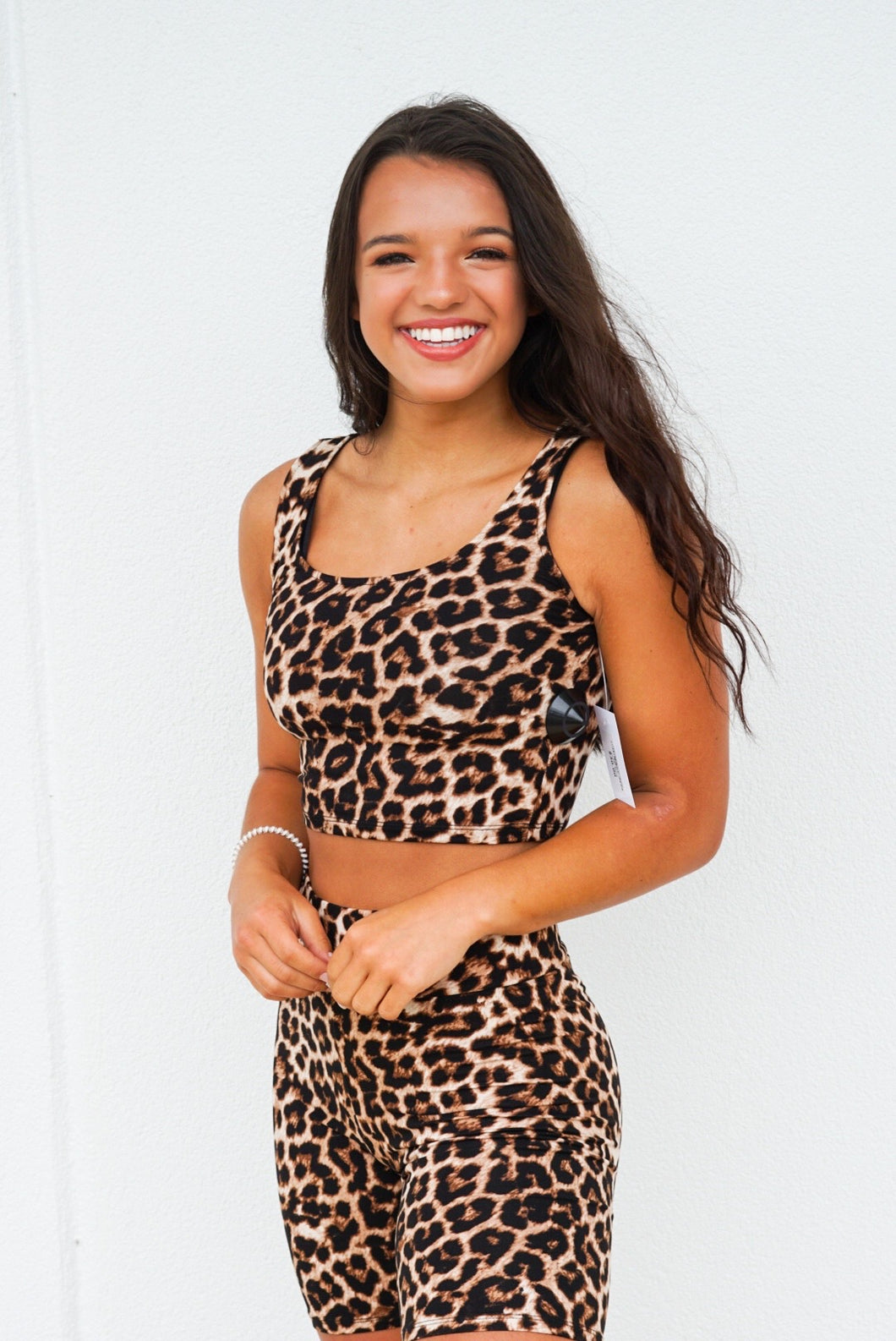 Leopard print crop set