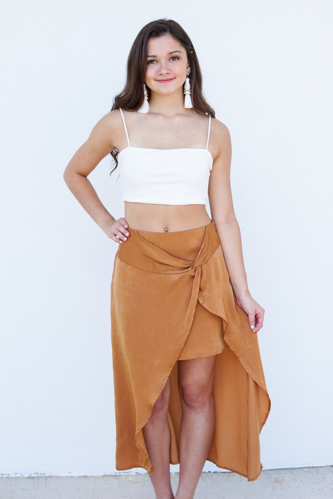 Satin high low skirt