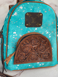 Acid Wash Cowhide & Tooled Repurposed Louis Vuitton Backpack