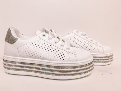 Walk A Mile With Me Rhinestone Sneakers