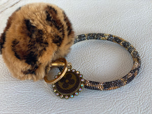 Rhinestone LV O Ring With Pom