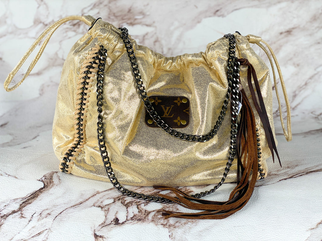 Dripping in Gold Repurposed LV Purse