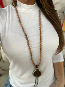 Repurposed LV Brown Bead Necklace