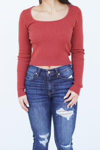 Cropped Dreams Ribbed Long Sleeve