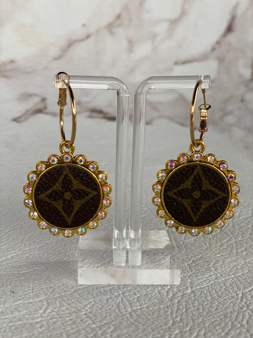 Gold Repurposed LV Earrings