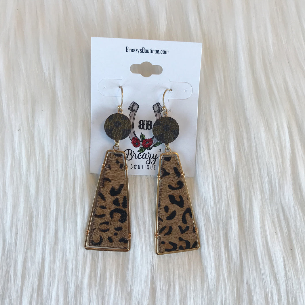 LV geometrical leopard earrings