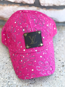 LV flower hot pink hat
