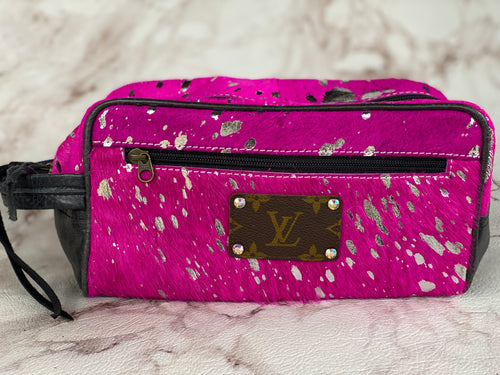 Pink Polly Repurposed LV Cowhide Makeup Bag