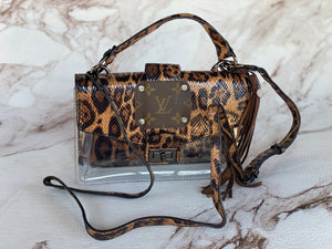 Clear Leopard Repurposed LV Patch Purse