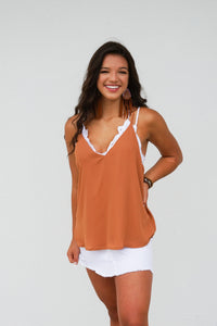 Strappy vneck solid top