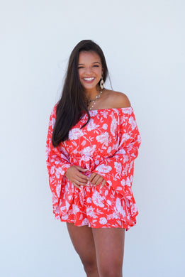 Off Shoulder Floral Ruffle Romper