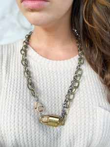 Double Chain Repurposed LV Lock Necklace