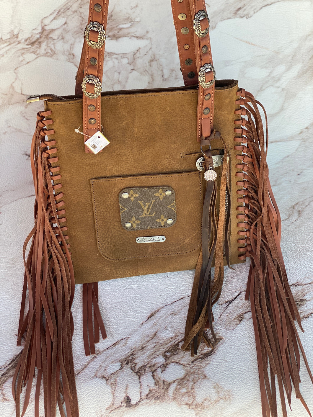 Western Fringe Purse with Repurposed LV Patch