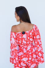Load image into Gallery viewer, Off Shoulder Floral Ruffle Romper