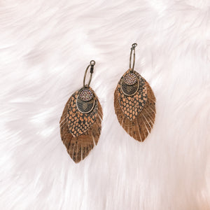 Spotted Brown LV Feather Earrings