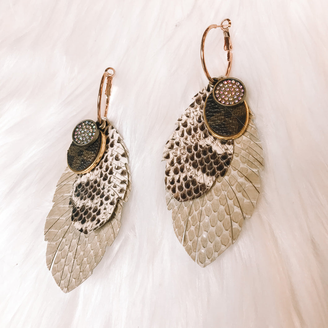 Cream LV Feather Earrings