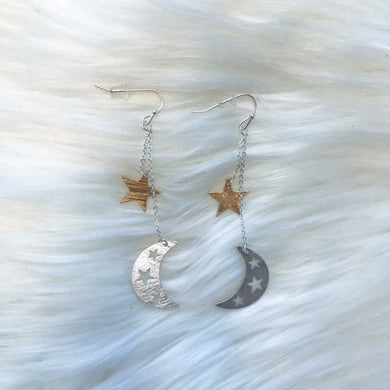 Star & Moon Dangle Earrings