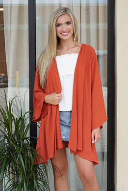 Solid long sleeve kimono - Breazy's Boutique