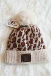 Fuzzy Cheetah Repurposed LV Beanie