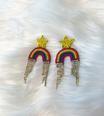Crystal Fringe Rainbow Earrings