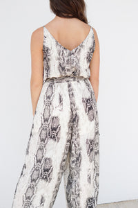 SLEEVELESS SNAKE PRINT JUMPSUIT