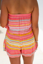 Load image into Gallery viewer, Multi Stripe Overlay Tube Romper