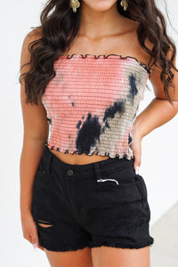 Smocked Tie Dye Tube Top