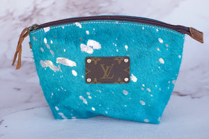Turquoise Tami Makeup Case with Repurposed Louis Vuitton