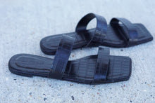 Load image into Gallery viewer, Black Croc Square Two Strap Sandals