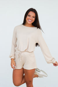 Check List Waffle Knit Lounge Set