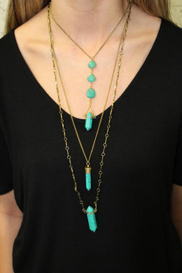 Tiered Turquoise Stone Necklace - Breazy's Boutique