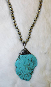 Turquoise Stone Pendant Necklace - Breazy's Boutique