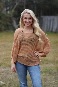 Cold Shoulder Fishnet Sweater - Breazy's Boutique