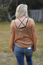 Load image into Gallery viewer, Cold Shoulder Fishnet Sweater - Breazy's Boutique