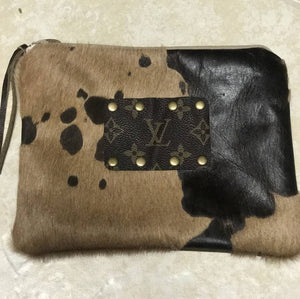 Cowhide Acid Wash Makeup Bag - Breazy's Boutique